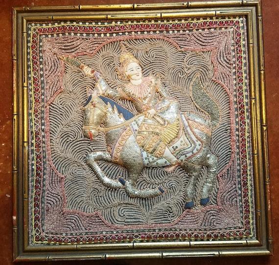 embroidery framed art man riding horse hindu art thread vintage crafts home decor living room