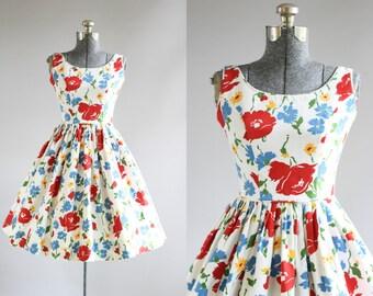 Vintage 1950s Dress / 50s Cotton Dress / Jonathan Logan Red and Blue Floral Cotton Pique Sun Dress XS/S
