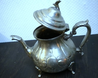 Tin Kettle Teapot China Japan Asia Relief-ornaments Heavy vintage