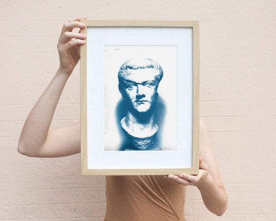 Housewarming gift, Caligula Classic Sculpture, Roman Empire, Cyanotype Print on Watercolor Paper, Ideal 2nd Anniversary Gift Limited Edition