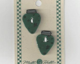 Clearance - Debbie Mumm Green Christmas Bulb Button Set #43047