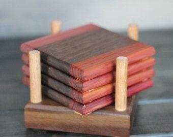 Aromatic Cedar and walnut wood coaster set.  Free shipping in Canada