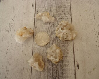 Lot of Mixed Shape and Size Quartz Druzy Chunks for Jewelry Design, Wire Wrapping, Crafting, 5 Pieces