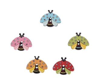 Ladybug shaped wooden button 10