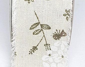 Green Print Floral Burlap Cotton Ribbon Wide Printed Hessian Type Ribbon 60 mm, Green Print Burlap Ribbon, Cut-Edge Ribbon By the Metre