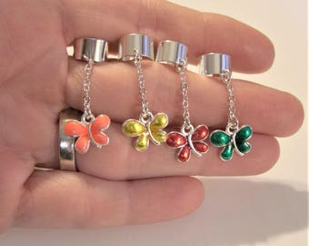 Dragonfly ear cuff, Silver plated Ear Cuff dangle, Pick your color!