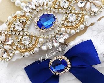 Royal Blue Garters for wedding, Bridal Garter Set, Gold Garter for Wedding, Wedding Garter Set, Wedding Garter Belt- Something Blue