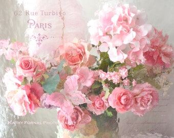 Paris Roses Photography, Shabby Chic Decor, Paris Roses Art Prints, Dreamy Paris Roses Print, Romantic Paris Pink Roses Floral Photography