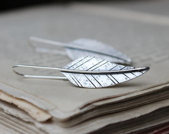 Gypsy or personalized with your word ~ sterling silver distressed leaf earrings, Made to order