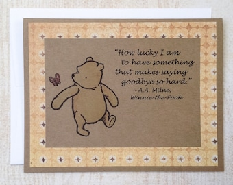 How Lucky I Am - Winnie the Pooh Quote - Classic Pooh Note Card Yellow Border