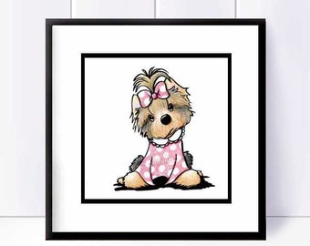 YORKIE TERRIER Dog Original Art Illustration
