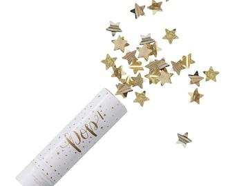 Confetti | Party Cannon | Gold Star Confetti Popper | Party Confetti | Confetti Cannon | Birthday Party | Christmas Party | Table Confetti