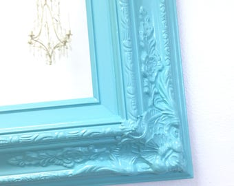 "ANY COLOR - Yellow White Aqua Framed Baroque Bathroom Vanity Mirror Baby Nursery Decor 27""x23"" Decorative Ornate Unique Mirror Rectangle"