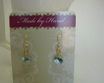 Blue glass teardrop dangle earrings