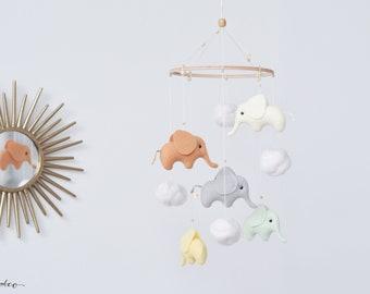 Elephant Mobile , Baby Mobile , Crib Mobile , Elephant Baby Shower Gift , Newborn Gift , Cot Mobile , Elephant Nursery