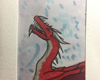 Red dragon original drawing