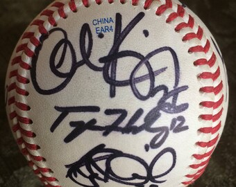 Official League Baseball with ten autographs on it.  Singed by players with number in black marker.