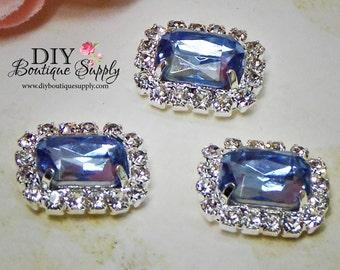 Small BLUE Crystal Flatback Rhinestone buttons Embellishment Wedding Bridal Accessories Hair bow or  flower centers 13x15mm 760040