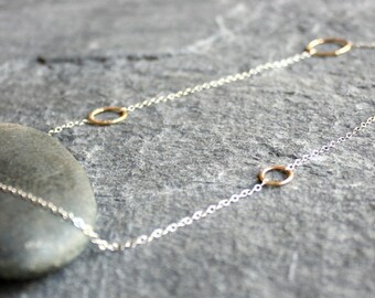 delicate gold and silver circle chain necklace | mixed metal circle necklace | hammered circle chain