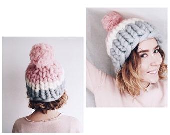Women's wool knit hat, Helsinki Hat, Super chunky hat with pom pon, Chunky Hat, Super Bulky Hat, Knit Hat. Merino wool. Best Price