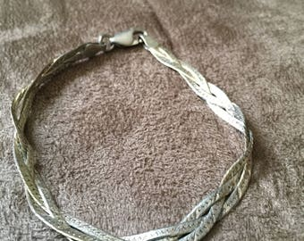 Vintage Sterling Silver ITALY Braided Bracelet
