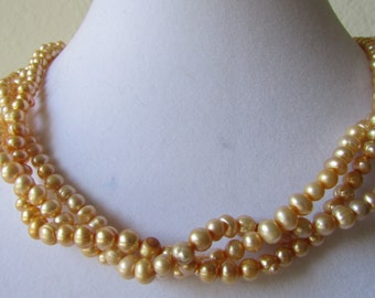 3 Strands of Ivory Peach Cream Cultured Fresh Water Pearl Bridal Gift,Bridesmaid Gift Wedding Gift