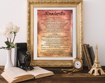 Desiderata Print - Printable Art - Printable Quote - Inspirational Quote - Instant Download - Wall Quote - Wall Art Print - Quote Print