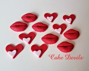 Heart & Lips Cupcake Toppers, Edible Valentine's Day Cake Decorations, Fondant Hearts, Fondant Lips, Heart Cake Toppers, Kiss, Sweetheart