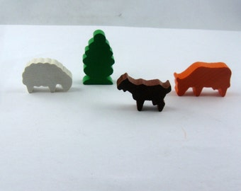 Wooden toys. 4 small wooden figures (Froebel characters). HOUSE and FARM II: sheep, tree, goat, cow. Made in Germany. Vintage
