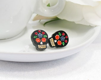 Multicolor Blue and Orange Hand-Painted Black Sugar Skull Stud Earring