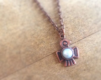 Thunderbird Necklace - Native American Jewelry - Southwestern Jewellery - Tribal - Antique Copper - Pearl