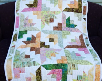 Patchwork Handmade Quilt, Lap rug, Lap Quilt, Butterfly Green Brown Pink White Quilt