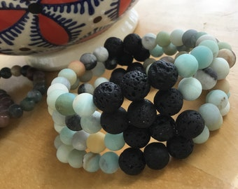 Unisex Stone Bracelet, Natural Amazonite Stone Bracelet, Diffuser Bracelet, Lava Diffuser Bracelet, Stretchy Diffuser