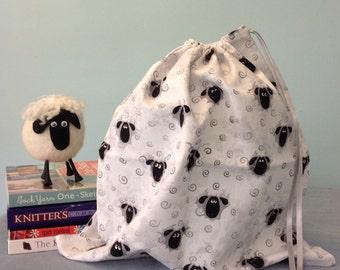 Large Knitting Project Bag - Sheep Print Bag