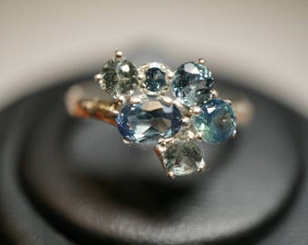 Stunning Montana Sapphire Cluster Ring