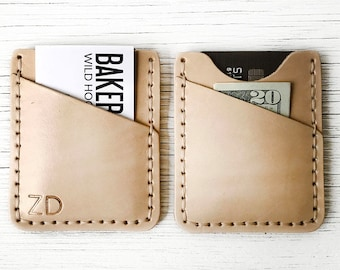 Mens Leather Wallet, Personalized Front Pocket Wallet Personalized, Characters, Initials - Slim, Thin and Durable - Genuine Leather