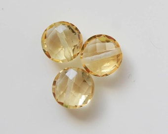 3 Pcs 14Cts. AAA Quality Wholesale  Natural Drill Citrine 10mm Round Jewelry Making Handmade Loose Gemstone Drilling Briolette Faceted Cut