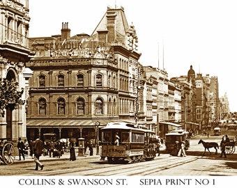 Old Melbourne Sepia Toned Art Prints, Collins,Bourke, Flinders,Swanston &Spring Streets 1800's