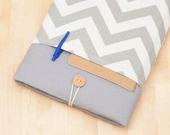 iPad  Air sleeve, iPad Pro 10.5 case / iPad cover / ipad retina case /  padded  - chevron in grey -