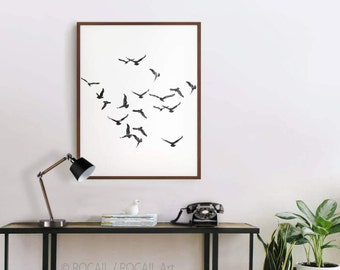 Black and white flock of birds digital art Print | Large printable poster, image, illustration for wall hanging and photo frame up to 24x36