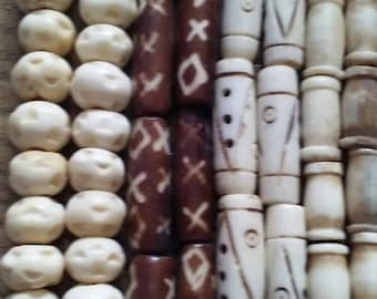 Four Assorted Strands Vintage Bone Beads Handmade Carved Dyed Round Hair Pipe Half Inch One Inch Hippie Beads Jewelry Supply Assortment #2BB