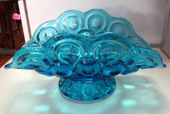 Moon and Stars Banana dish blue Glass - L.E. Smith