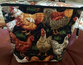 Chicken Print Zippered Purse, 9 by 8 inches, Cosmetic Bag,  Pouch, Makeup Bag,, Pencil Case, Clutch, Blue