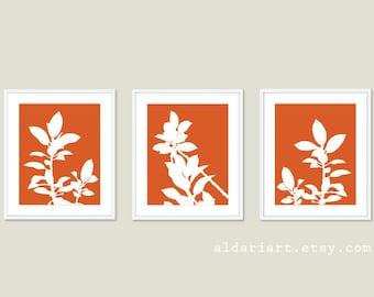 Botanical Print Set - Pumpkin Orange and White Plants - Modern Home Decor - Botanical Wall Art - Spring Decor
