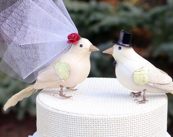 Fancy Finch Wedding Cake Topper in Ivory -- One of a Kind! Vintage-y Bride & Groom Love Bird Cake Topper