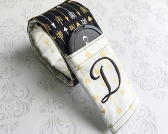 Embroidered Reversible Camera Strap Cover with Lens Cap Pocket and Monogram, DSLR Camera Strap, Photographer Gift - Black and Gold Arrows