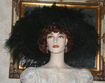 SPECIAL ORDER - Kentucky Derby Hat, Wedding Hat, Edwardian Hat, Royal Ascot, Downton Abby Hat, Asst. Colors Available -  Feathered Frenzie