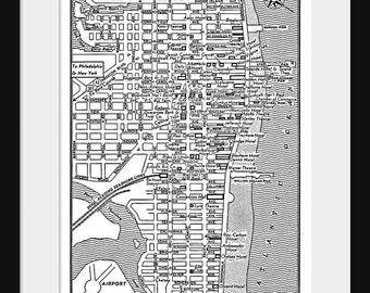 Atlantic City -  Vintage Map of Downtown Atlantic City Print Poster