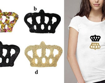 2 Heat Transfer Applique Designs of Crown - for Fashion Crafts and Home Decor