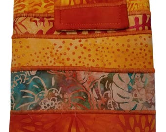Nook or Kindle Fire Ipad Mini Sleeve in Orange Batik Fabrics Back to School